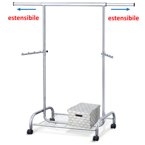 Stand Appendiabiti in Acciaio Cromato su Ruote con Ripiano per Scarpe L100-141 x A150 x P50 сm