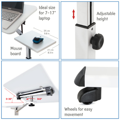 Tavolo Porta Laptop su Ruote Bianco Regolabile in Altezza con Piattaforma per Mouse 67x52x70 cm