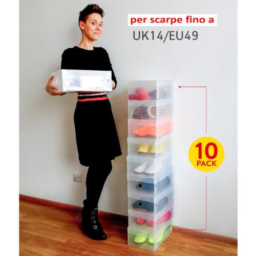 10 Scatole per Scarpe Trasparenti Pieghevoli Uomo/Donna in Plastica Solida a Coste