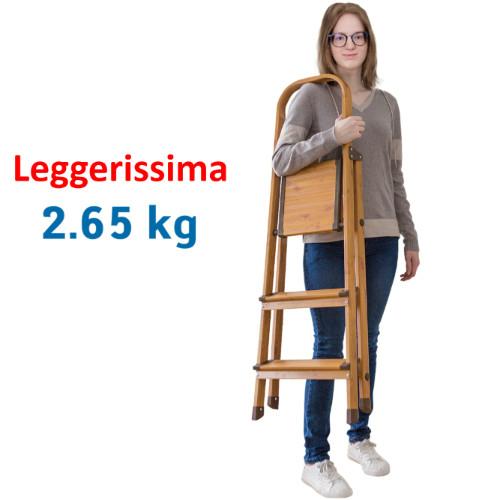 Scaletta Pieghevole Domestica in Alluminio color Legno a 3 Gradini Anti Scivolo Leggero e Robusto 42x65x112 cm