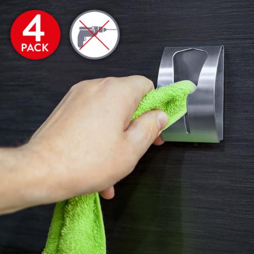 Porta Asciugamani Autoadesivo in Acciaio Inox (4 Pezzi) Portata Fino a 5 kg
