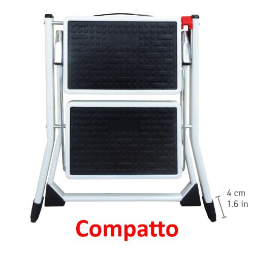 Scaletta Pieghevole Compatta 2 Gradini Antiscivoli Acciaio Verniciato a Polvere 50x49x45cm