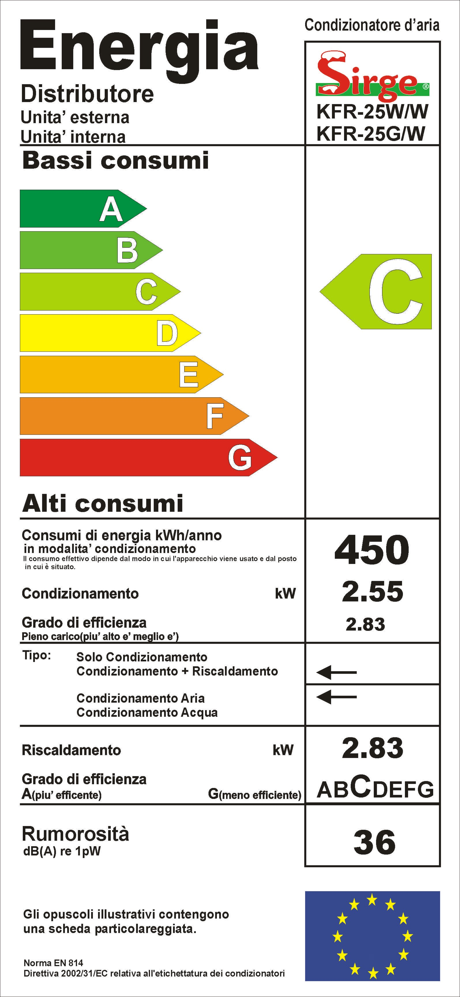 Sirge - Climatizzatore Condizionatore 12000 Classe C