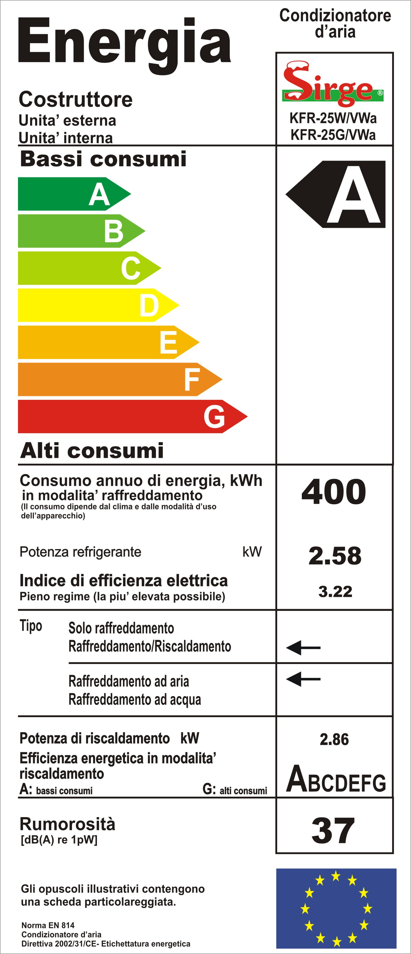 Sirge Elettrodomestici - Condizionatore 9000 btu Classe A+A