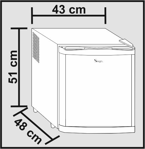 Sirge frigo minifrigo 48 litri frigobar nero frigorifero 7 for Dimensioni frigorifero