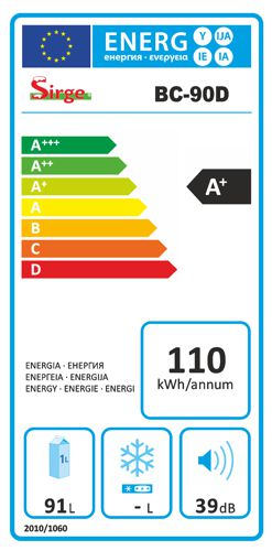 etichetta energetica frigo mini frigorifero frigobar sirge