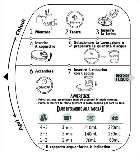 Macchina per pasta fresca fatta in Casa con bilancia e sistema di estrusione elettronica 220 Watt impasta e produce la Pasta PASTAFAVOLOSA