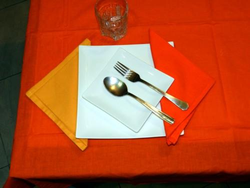 Tovaglia Arancio Cotone 140 X 180 cm Rettangolare Tinta Unita 100% Cotone