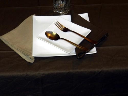 Tovaglia Marrone Cotone 110 X 110 cm Quadrata Tinta Unita 100% Cotone