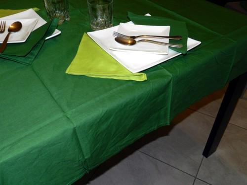 Tovaglia Verde Scuro Cotone 140 X 180 cm Rettangolare Tinta Unita 100% Cotone