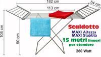 Stendino Elettrico Riscaldante MAXI ALTEZZA 108 cm con 2 ali Stendibiancheria asciugabianchieria pieghevole riscaldante 20 Elementi