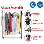 Stand Appendiabiti Pieghevole in Acciaio Cromato e Plastica 89 x 49 x 99-167 cm