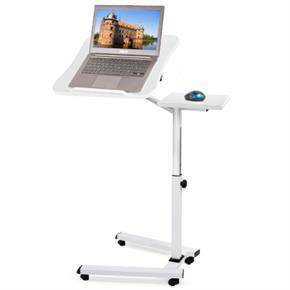 Tavolo Porta Laptop su Ruote Bianco Regolabile in Altezza con Piattaforma per Mouse 67x52x70/99,5 cm