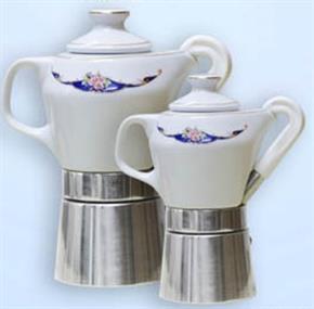 Caffettiera Moka 2 tazzine in fine porcellana certificata e decorata oro