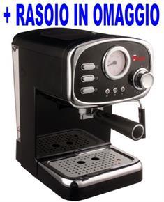 Macchina per Caffe Espresso e Cappuccino caffe in polvere e Cialde di carta POMPA ITALIANA 15bar con 3 Filtri per 1 e 2 tazzine e strumento per indicazione temperatura CREMILDA