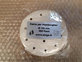 Carta per hamburger da 130mm Confezione per 500 Pezzi per Alimenti FORATA