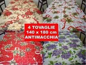 4 pz di Tovaglia Natalizia rettangolare 140 x 180 cm Natale Tavolo Antimacchia Poliestere