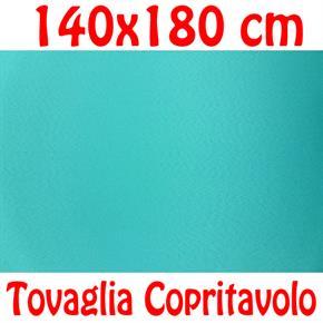 Copritavolo Cotone Tovaglia Azzurro Turchese Rettangolare Tinta Unita 140 x 180 cm 100% cotone