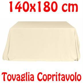 Copritavolo Cotone Tovaglia Bianco Avorio Rettangolare Tinta Unita 140 x 180 cm 100% cotone