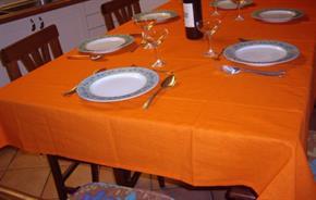 Tovaglia Cotone Arancio Tinta Unita: Rettangola, Rotonda, Quadrata 100% Cotone