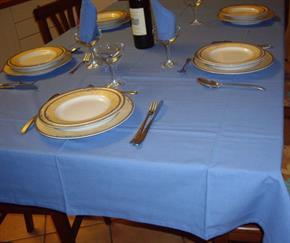 Tovaglia Cotone Azzurra Tinta Unita: Rettangola, Rotonda, Quadrata 100% Cotone