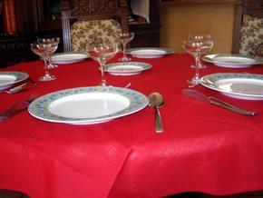 Tovaglia Cotone Rossa Tinta Unita: Rettangola, Rotonda, Quadrata 100% Cotone