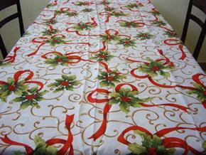 Tovaglia Natalizia rettangolare 140 x 180 cm Natale Tavolo Antimacchia Poliestere 02